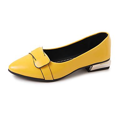 Mulheres Couro Ecológico Primavera Conforto Rasos Caminhada Salto Baixo Dedo Apontado Apliques Cinzento / Amarelo / Vermelho