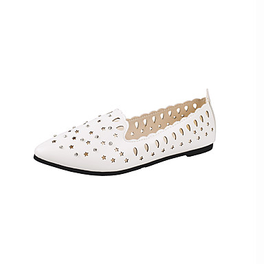 Mulheres Sapatos Couro Ecológico Primavera Conforto Rasos Sem Salto Branco / Preto / Rosa claro
