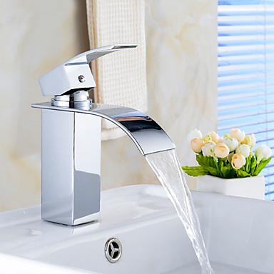 Çağdaş Tek Gövdeli Şelale Seramik Vana Tek Delik Tek Kolu Bir Delik Krom, Banyo Lavabo Bataryası
