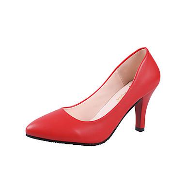 Damskie Obuwie PU Wiosna lato Comfort Szpilki Szpilka Pointed Toe Black / Silver / Czerwony