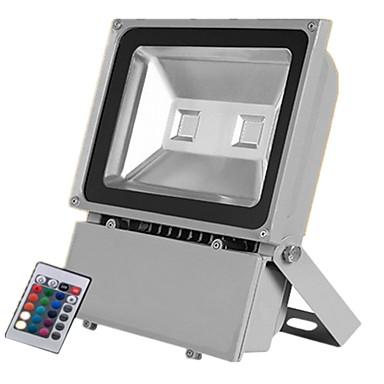 abordables Éclairage Extérieur-1pc 100 W Projecteurs LED Imperméable / Télécommandé / Intensité Réglable RGB + Blanc 85-265 V Eclairage Extérieur 2 Perles LED