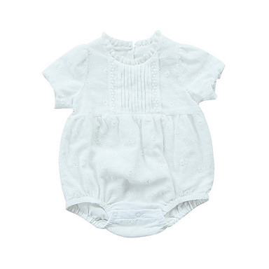 e1196be0a Baby Girls' Daily Solid Colored Classic Short Sleeves Polyester Romper White  / Cute