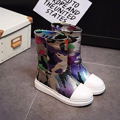 Plat Argent Hiver Talon neige Chaussures Mi Polyuréthane Femme Confort Bottes Bottes Or 06623882 Automne de Bottes mollet qfvp4xZ