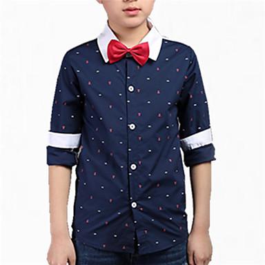 Barn Gutt Sløyfe Trykt mønster Langermet Bomull Skjorte
