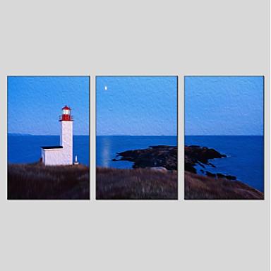 Hang-Malowane obraz olejny Ręcznie malowane - Krajobraz Nowoczesny Płótno / Trzy panele / Rozciągnięte płótno