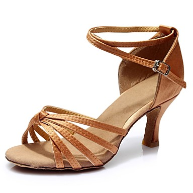 Women's Latin Shoes Satin Flared Sandal / Heel Splicing Flared Satin Heel Customizable Dance Shoes Brown e3c6e2