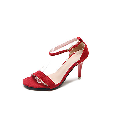 Női Cipő Kasmír Nyár Kényelmes Szandálok Gyalogló Tűsarok Lábujj nélküli mert Szürke / Piros / Rózsaszín