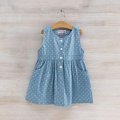 Brzdąc Dla dziewczynek Codzienny Nadruk Bez rękawów Bawełna Sukienka Niebieski 100 / Śłodkie