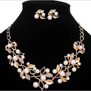 Damen Perle / Künstliche Perle / Strass Blumig Schmuck-Set Ohrringe / Halsketten - Personalisiert / Blumig / Modisch Gold / Silber