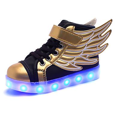 Tyttöjen Kengät PU Talvi Comfort Urheilukengät Solmittavat / LED varten Musta ja kulta