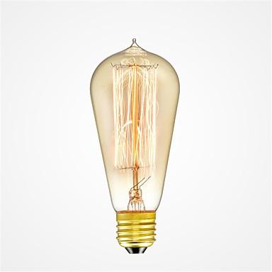 abordables Ampoules électriques-1pc 40W E26/E27 ST58 Blanc Chaud 2200-2700k K Rétro Intensité Réglable Décorative Ampoule incandescente Edison Vintage 220-240V