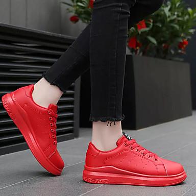 Femme Chaussures Chaussures Chaussures PU de microfibre synthétique Printemps / Automne Confort Basket Talon Plat Bout rond Blanc / Rouge / Noir / blanc   De Première Qualité  a5c7c5