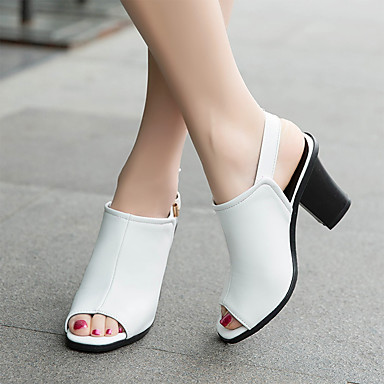 Marron Similicuir Bout Sandales 06632670 Chaussures Noir ouvert Printemps Femme Eté Blanc Talon Confort Bottier q7RSn5np