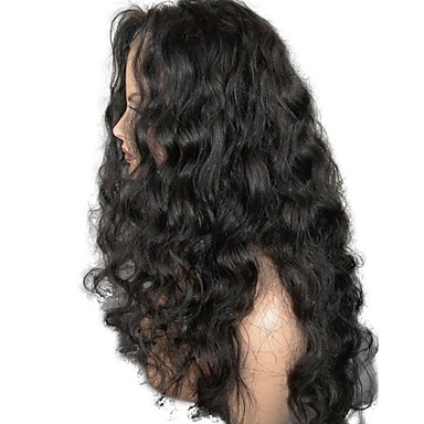 povoljno Perike i ekstenzije-Netretirana  ljudske kose Lace Front Perika Stepenasta frizura stil Brazilska kosa Wavy Crna Perika 130% Gustoća kose s dječjom kosom Za crnkinje Žene Kratko Srednja dužina Dug Perike s ljudskom kosom