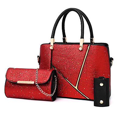 efec487f96 Γυναικεία Τσάντες PU Σετ τσάντα 3 σετ Σετ τσαντών Πούλιες   Φερμουάρ  Συμπαγές Χρώμα Ασημί   Ρουμπίνι   Καφέ