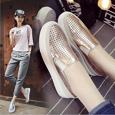 Chaussures Argent Cuir Printemps Plat Confort Blanc et Polyuréthane Femme Mocassins Nubuck Automne D6148 06642171 Or Talon Chaussons Aw1qwdZ