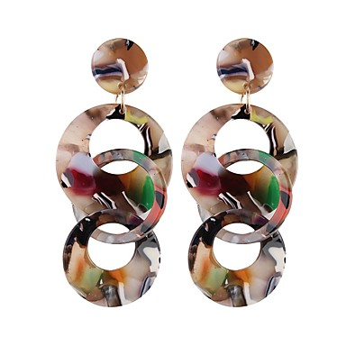billige Moteøreringer-Dråpeøreringer Dråpe donuts damer Europeisk Mote Oversized øredobber Smykker Hvit / kaffe / Regnbue Til Gate Klubb