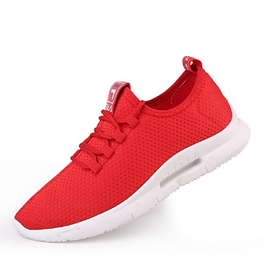 Men's Light Soles Net / Tulle Summer Comfort Tennis Sneakers Running Shoes / Tennis Comfort Shoes / Walking Shoes White / Black / Red f455a4