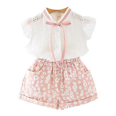 Dla dziewczynek Codzienny Urlop Kwiaty Komplet odzieży, Bawełna Poliester Lato Krótki rękaw Urocza Aktywny Clover Blushing Pink