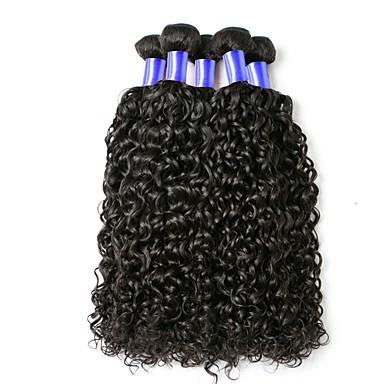 baratos Extensões de Cabelo Natural-6 pacotes Cabelo Indiano Encaracolado 10A Cabelo Virgem Cabelo Humano Ondulado Cuidados com Cabelo Extensões de Cabelo Natural Côr Natural Tramas de cabelo humano Macio Venda imperdível Confortável