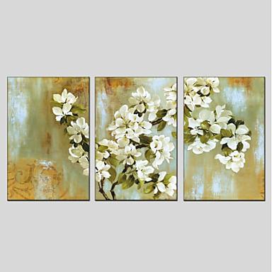 Hang-Malowane obraz olejny Ręcznie malowane - Kwiatowy / Roślinny Nowoczesny Brezentowy / Trzy panele / Rozciągnięte płótno