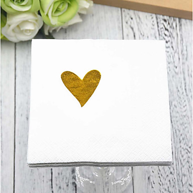 billige Bryllupsservietter-Rent papir Bryllup Servietter - 5pcs Aftensmat Servietter Bryllup Valentinsdag Klassisk Tema