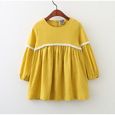 Dla dziewczynek Wyjściowe Jendolity kolor Długi rękaw Sukienka / Bawełna / Urocza