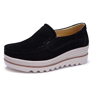 1f8e907b Mujer Cuero Primavera / Otoño Confort Zapatos de taco bajo y Slip-On Tacón  Cuña Dedo redondo Rojo / Azul / Almendra / EU39