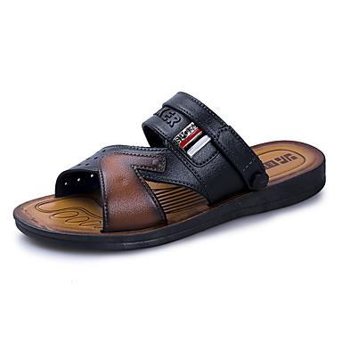 Homens sapatos Couro Ecológico Primavera / Verão Conforto Sandálias Preto / Castanho Claro
