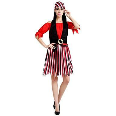 Piraci z Karaibów Kostium Unisex Halloween Halloween Karnawał Dzień Dziecka Festiwal/Święto Kostiumy na Halloween Stroje Czerwony Solidne kolory Prążki Halloween