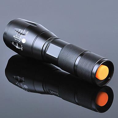 رخيصةأون المصابيح اليدوية وفوانيس الإضاءة للتخييم-LED Flashlights LED بواعث 3000 lm 5 إضاءة الوضع مع البطارية والشاحن زوومابلي ضد الماء Adjustable Focus Camping / Hiking / Caving Everyday Use أخضر أسود