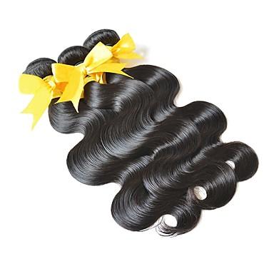 baratos Extensões de Cabelo Natural-3 pacotes Cabelo Eurásio Onda de Corpo 10A Cabelo Virgem Ponta de Estoque Preta Côr Natural Tramas de cabelo humano Venda imperdível Para Mulheres Negras 100% Virgem Extensões de cabelo humano