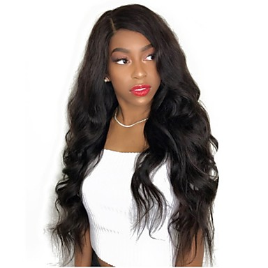 cheap Human Hair Wigs-Virgin Human Hair Full Lace Wig Layered Haircut style Brazilian Hair Wavy Body Wave Black Wig 130% Density with Baby Hair Natural Hairline Black Women's Short Medium Length Long Human Hair Lace Wig