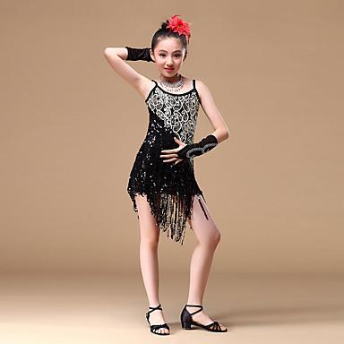 Taniec latynoamerykański Suknie Dla dziewczynek Szkolenie / Wydajność Poliester Koraliki / Frędzel / Cekiny Bez rękawów Ubierać