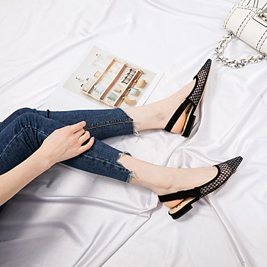 Talon Tulle Ballerines pointu Confort Printemps Plat 06649560 Chaussures Eté Bout Femme Noir wZaxnpY
