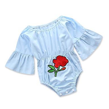 4b28803503 bebê Para Meninas Activo Diário   Feriado Sólido   Floral Flor   Franzido    Clássico Manga Longa Algodão   Poliéster Peça Única Azul   Fofo   Bébé