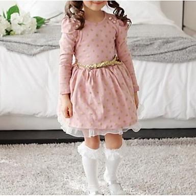 baratos Vestidos para Meninas-Bébé Para Meninas De Renda Diário Rosa empoeirada Poá Manga Longa Vestido Rosa / Algodão