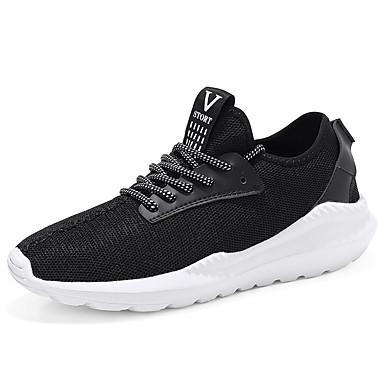Homens sapatos Camurça Verão Conforto Tênis Corrida Cadarço para Ao ar livre Branco Preto Vermelho