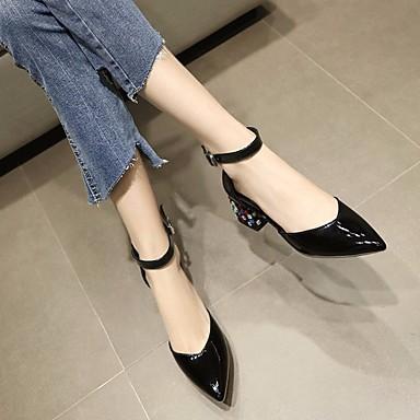 Chaussures Cuir Automne Rouge 06640334 Printemps Bottier Blanc Femme à Noir Talons Confort Talon Chaussures qdfawn