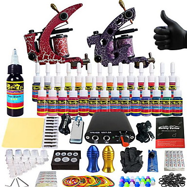 Tattoo Machine Starter Kit - 2 pcs Tattoo Machines with 14 x 5 ml tattoo inks, Professional Mini power supply Case Not Included 2 alloy machine liner & shader
