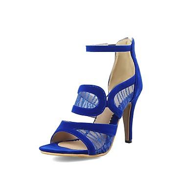 Cuir Eté Bleu de Noir Aiguille ouvert Dentelle Femme 06637699 Nubuck Rouge Bride Bout Chaussures Sandales Cheville Talon IwExq1