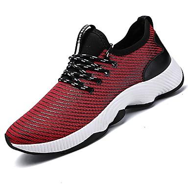 Hombre Zapatos Punto Verano Confort / Suelas con luz Zapatillas de deporte Negro / Rojo f0vv7CyTz