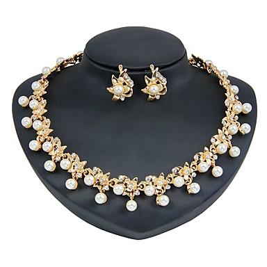 d58db3d52 Mujer Conjunto de joyas Perla Artificial, Chapado en Oro Flor Moda Incluir  Los sistemas nupciales