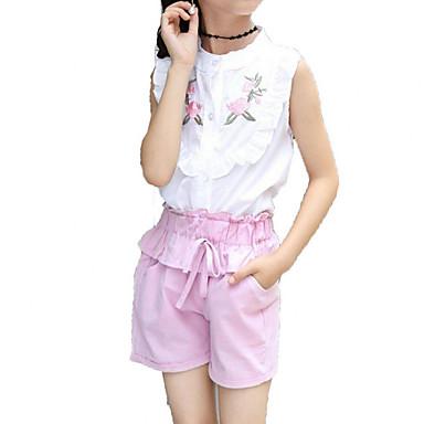 Dzieci Dla dziewczynek Aktywny Święto Solidne kolory / Nadruk Haft Krótki rękaw Bawełna Komplet odzieży / Śłodkie