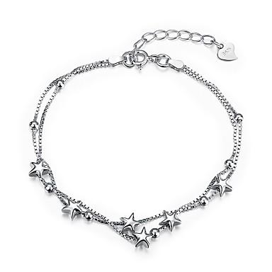 abordables Bracelet-Chaînes Bracelets Femme Zircon S925 argent sterling Etoile dames Mode Bracelet Bijoux Argent pour Cadeau Quotidien