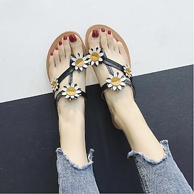 Pentru femei PU Vară Confortabili Sandale Toc Drept Vârf rotund Negru / Bej / Maro