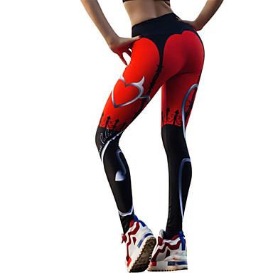 Pentru femei Sexy Pantaloni de yoga - Negru / Roșu Sport Inimă Dresuri Ciclism / Leggings Alergat, Fitness, Sală de Fitness Îmbrăcăminte de Sport Ușor, Uscare rapidă, Respirabil Strech