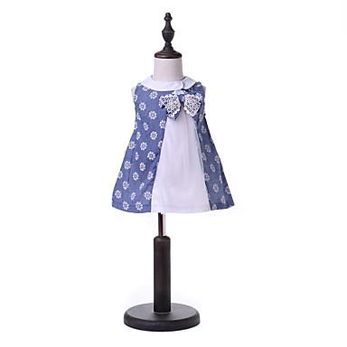 baratos Vestidos para Meninas-Infantil Para Meninas Básico Moda de Rua Diário Para Noite Azul e Branco Geométrica Laço Com Transparência Sem Manga Médio Vestido Azul / Algodão