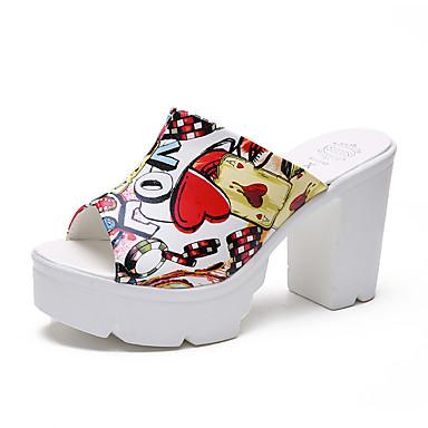 Pentru femei Pantofi PU Vară Pantof cu Berete Sandale Plimbare Platformă Vârf deschis Alb / Negru / Slogan
