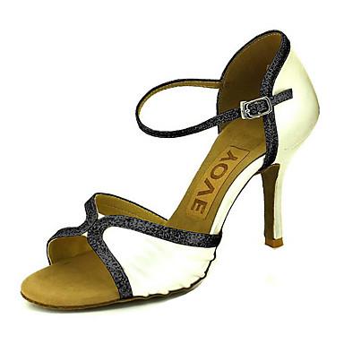 Mujer Zapatos de Baile Latino / Zapatos de Salsa Satén Sandalia / Tacones Alto Hebilla / Corbata de Lazo Tacón Personalizado Personalizables Zapatos de baile Plateado / Rojo / Azul / Rendimiento